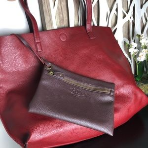 Large Reversible Burgundy/Red BASS tote
